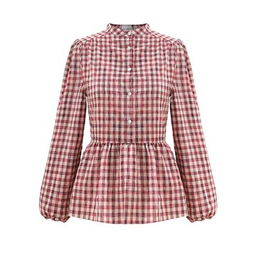 Noella - Rose Blouse - Neon Pink Check