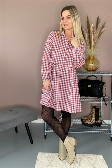 Noella - Vora Dress - Neon Pink Check