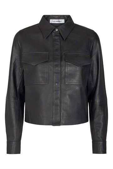 Co´Couture - Phoebe Crop Leather Shirt - Black